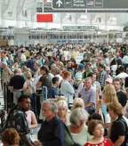 LAX, terminal, crowds