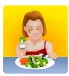 broccoli, unhappy girl eating her vegetables