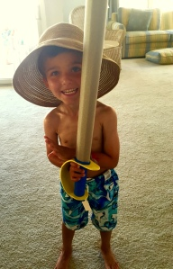grandson, floppy hat, summer fun