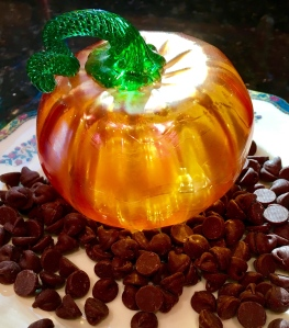 chocolate chips, glass pumpkin