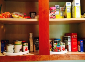 kitchen shelves, ingrediants