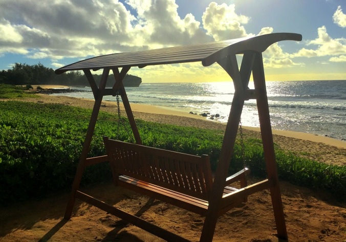 kauai, Hawaii, bench reflections