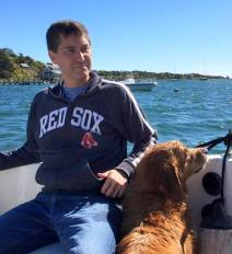 golden retriever, boating, Martha's Vineyard