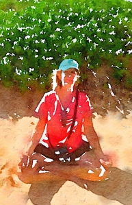 waterlogue, yoga, sitting pose