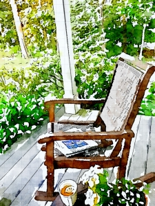 reading, newspaper, front porch, early morning, waterlogue