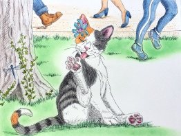 illustrated children's book, picture book, cat