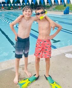 cousins, best buddies. summer swimming